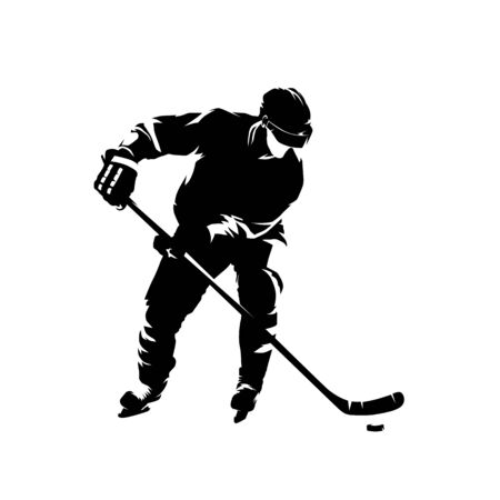 Ice hockey player, isolated vector silhouette, ink drawing