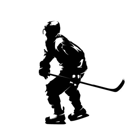 Ice hockey player, isolated vector silhouette, ink drawing Vector Illustratie