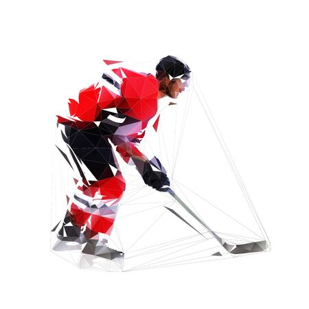 Ice hockey player, low poly isolated vector illustration