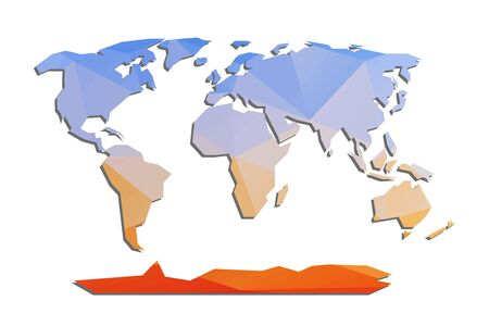 World map isolated low poly geometric silhouette. Abstract polygonal vector earth map. Continents infographic