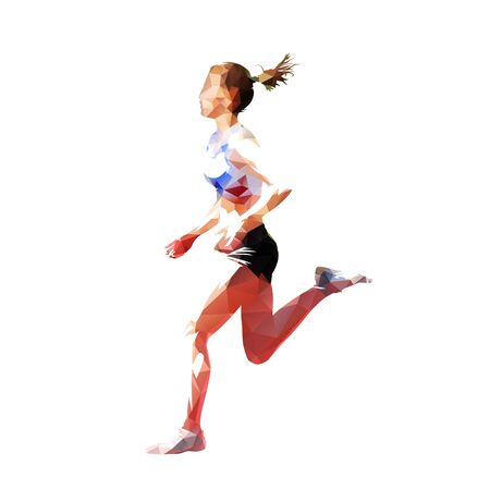 Running woman, low polygonal vector illustration, side view