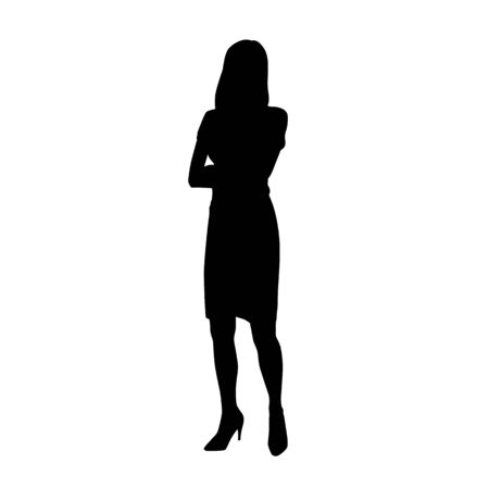 Business woman standing with folded arms, isolated vector silhouette. Front view