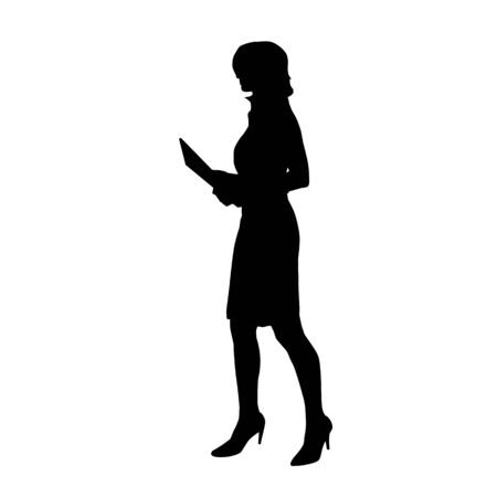 Business woman walking and holding documents, isolated vector silhouette. Side view Illustration