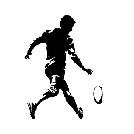 Rugby player kicking ball, rear view. Isolated vector silhouette. Ink drawing