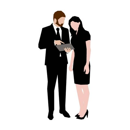 Business people standing and talking. Man holding tablet. Isolated geometric vector illustration. Flat design