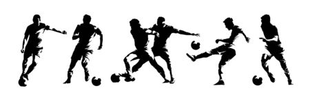 Soccer players, group of footballers. Set of isolated vector silhouettes. Ink drawing. Team sport Ilustração