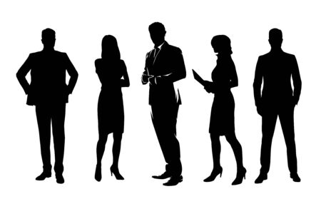 Business people, group of isolated vector silhouettes. Standing business men and women
