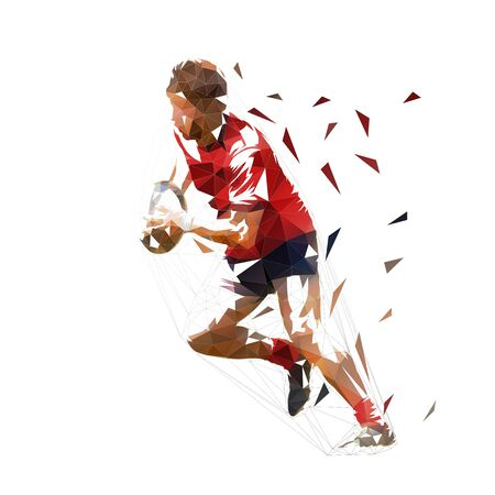 Rugby player running with ball, low poly isolated vector illustration