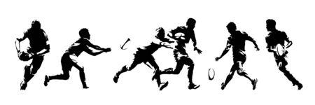 Rugby players, group of isolated vector silhouettes. Ink drawings. Team sport athletes