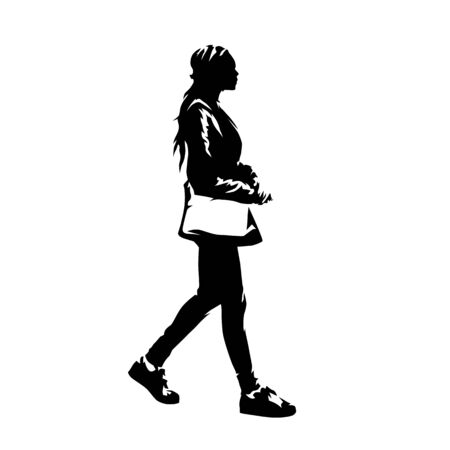 Woman with handbag walking, young african american lady profile. Ink drawing. Isolated vector silhouette 矢量图像