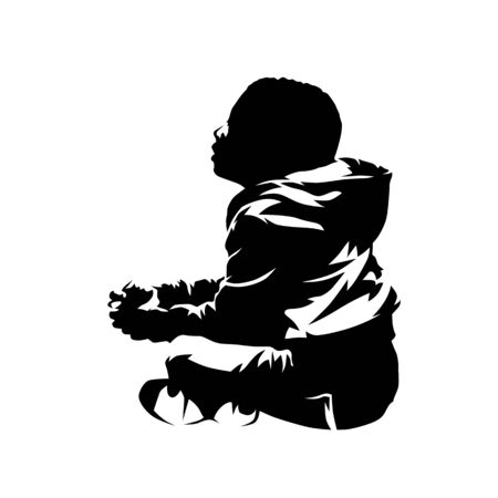 Little kid sitting, side view. African american child, isolated vector silhouette, ink drawing. Side view