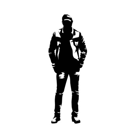 Man with cap standing with hands in pockets, casual clothing. Isolated vector silhouette. Front view. Young adult person