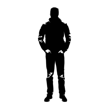 Standing man in jacket and jeans, front view. Abstract isolated vector silhouette. Ink drawing. Young adult man with hands in pockets