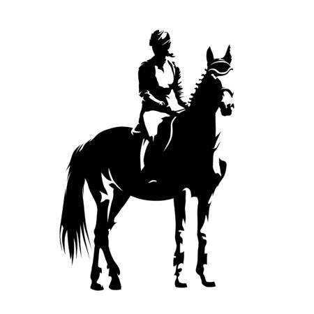 Equestrian, horse riding. Woman jockey. Isolated vector silhouette. Ink drawing
