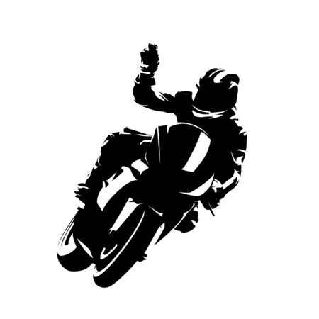 Motorbike rider celebrates victory. Isolated vector silhouette. Ink drawing. Motorsport racing 일러스트