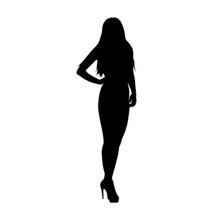 Business woman standing with hand on hip, isolated vector silhouette