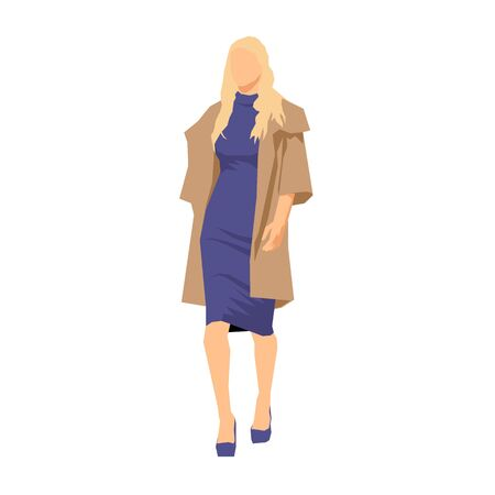 Slim blonde woman walking forward, flat design geometric isolated vector illustration. Front view