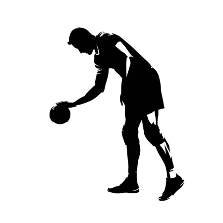 Volleyball player preparing for serve, isolated vector silhouette. Ink drawing Vettoriali