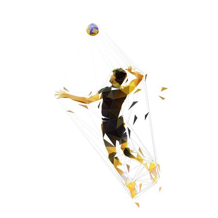 Volleyball player, low poly isolated vector illustration. Geometric team sport ahtlete Vettoriali