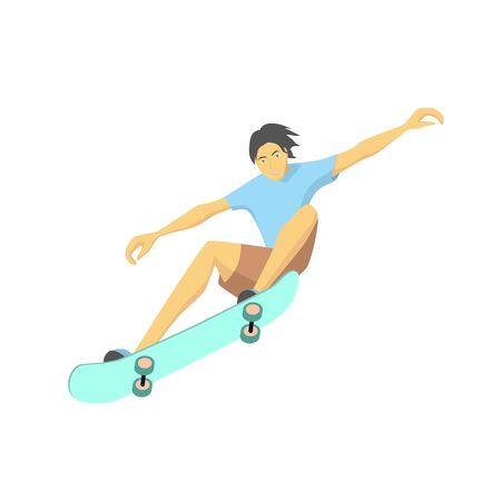 Skater jumping with skateboard, cartoon vector flat design illustration Stock Illustratie
