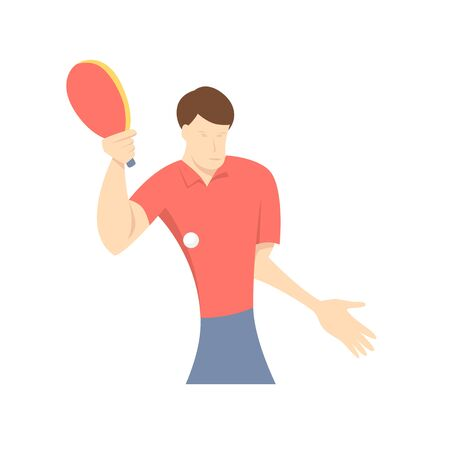 Table tennis player, front view.  Flat design cartoon vector illustration.