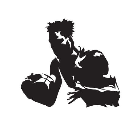 Basketball player holding ball, isolated vector silhouette. Team sport athlete, basketball logo Illusztráció
