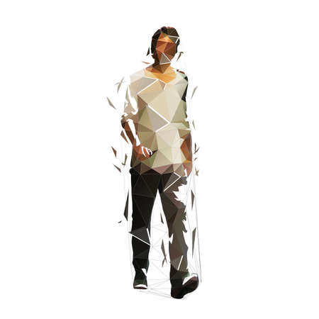 Walking man, low polygonal isolated vector illustration. Abstract geometric drawing. Adult man, front view