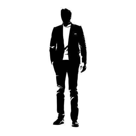 Business man standing in suit with hand in pocket, front view. Abstract vector illustration. Ink drawing. Business people silhouette Ilustracje wektorowe