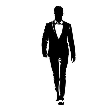 Businessman walking forward, abstract vector silhouette, ink drawing. Isolated business people