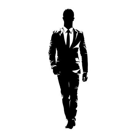 Business man walking forward, abstract vector silhouette, ink drawing. Isolated business people