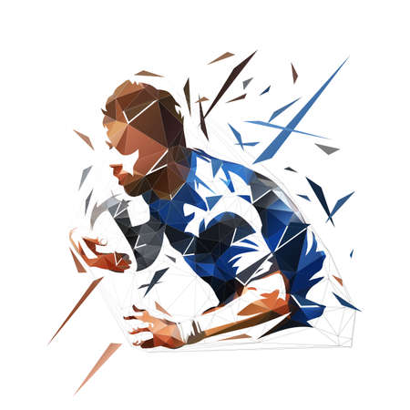 Rugby player running and holding ball, low polygonal vector illustration. Geometric isolated rugby logo from triangles
