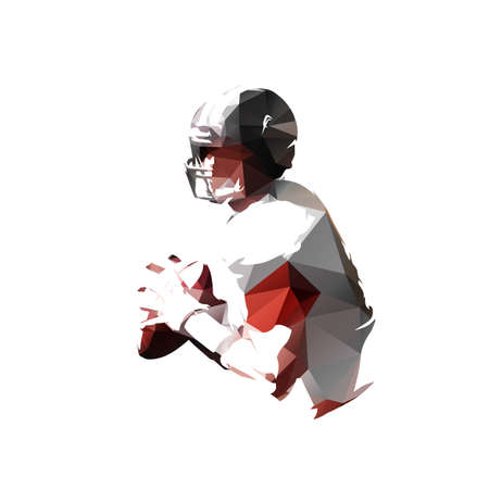 American football player holding ball, low polygonal isolated vector illustration, geometric drawing from triangles
