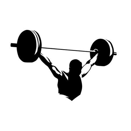 Weightlifter lifts big barbell, isolated vector silhouette, ink drawing 일러스트