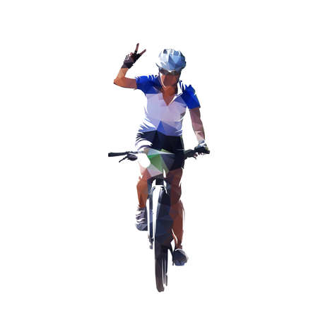 Mountain biker waving, victory. Woman riding bike. Low polygonal vector illustration. Female cyclist front view, geometric drawing from triangles Ilustrace