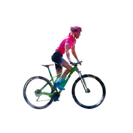 Mtb rider, woman biker on her mountain bike, low polygonal side view isolated vector illustration