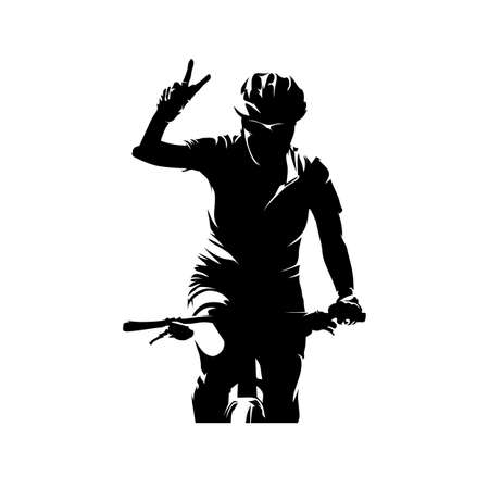Mountain biker waving, victory. Woman riding bike. Cycling, isolated vector silhouette