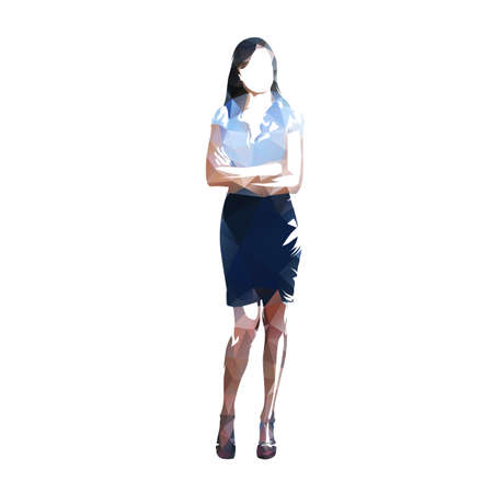 Business woman standing, isolated low polygonal vector illustration. Front view, geometric abstract drawing