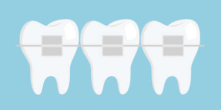 Teeth with braces. Dentistry. Flat design vector illustration