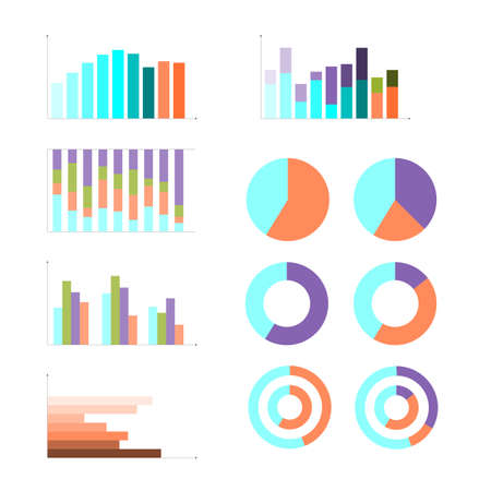 Group of quantitative graphs, flat design business infographic. Colorful vector illustration, chart, diagram, cycle, pie. visual analysis