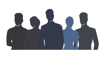 Business people vector drawing, flat design isolated silhouettes. Group of people, men and woman in formal clothing
