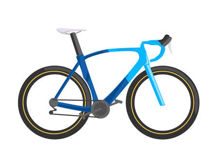 Road bicycle, isolated vector illustration. Blue bike, flat design, side view
