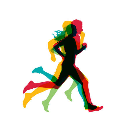 Running people, men and women isolated vector silhouettes. Marathon runners logo