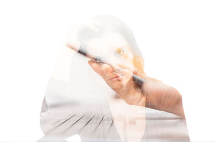 Double exposure of businesswoman and mobile phone in hand. Home office, working from home