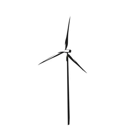 Wind power plant tower, isolated vector silhouette, ink drawing. Electricity