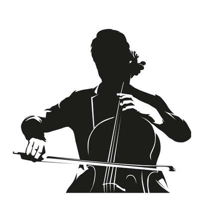 Cello player, isolated vector silhouette. Violin musician, ink drawing, front view