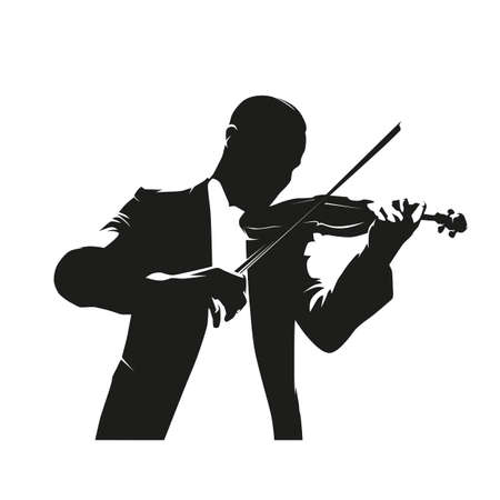Violin player, isolated vector illustration. Front view. Ink drawing