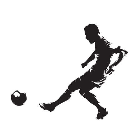 Soccer player kicking ball, footballer. Isolated vector silhouette, ink drawing