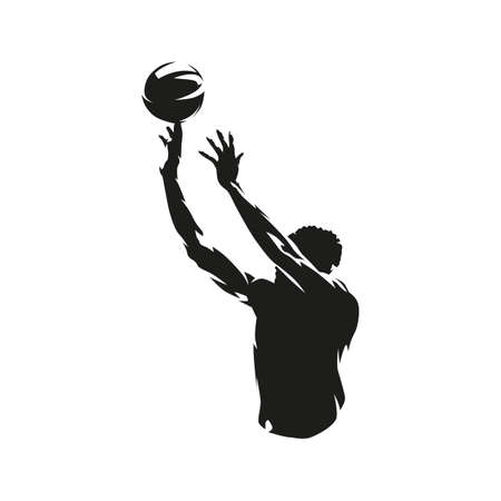 Basketball player shooting ball, jump shot. abstract isolated vector silhouette  イラスト・ベクター素材