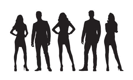 Businesswomen and businessmen, group of standing people, isolated vector silhouettes.