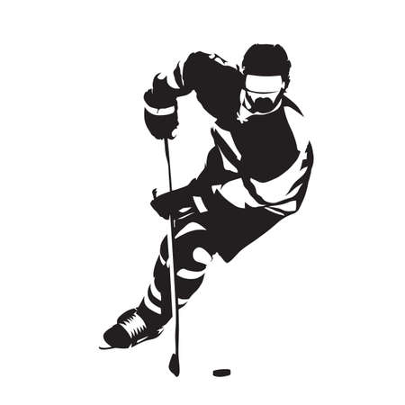 Ice hockey player skating with puck, front view. Abstract isolated vector illustration, winter team sport logo